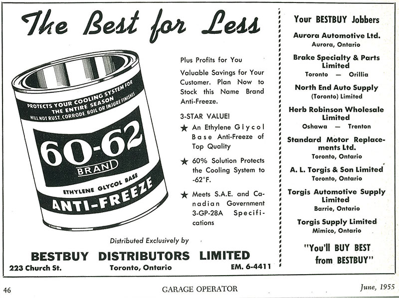An original Bestbuy Anti-freeze ad from 1955
