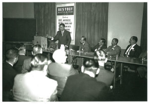 1958 Bestbuy meeting - photograph by Lawrence Torgis